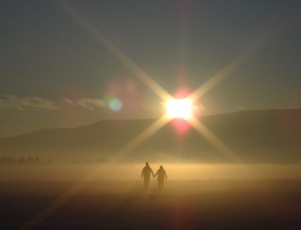 couple in sunset light